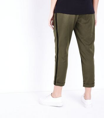 Maternity Khaki Side Stripe Over Bump Trousers New Look