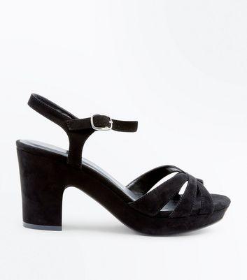 Wide Fit Black Suedette Platform Heels New Look