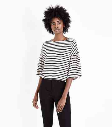 White Stripe Flared Sleeve Fine Knit Boxy T-Shirt