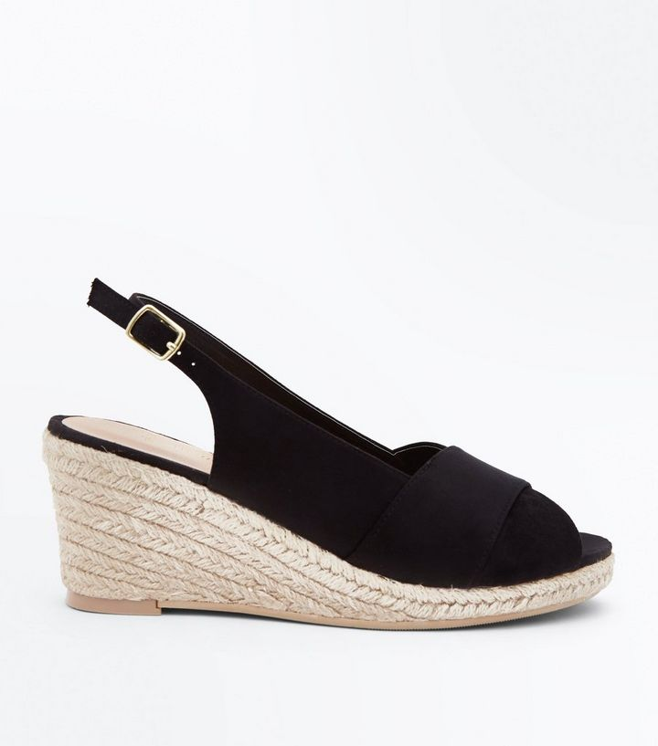 b13ca572f174 Wide Fit Black Espadrille Peep Toe Wedges