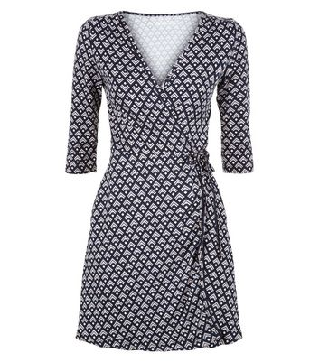 Apricot Navy Geometric Print Wrap Front Dress New Look