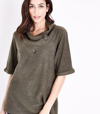 Apricot Green Waffle Cowl Neck Top New Look