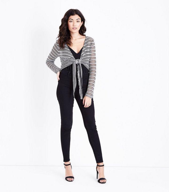 9971baaaf5f95 ... Black Pointelle Stripe Tie Front Crop Top. ×. ×. ×. Shop the look