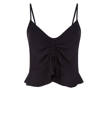 Cameo Rose Black Ruched Front Cami Top New Look