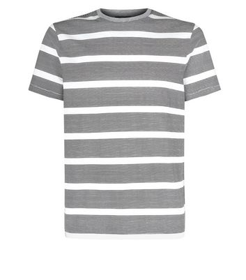 Grey Stripe T-Shirt New Look