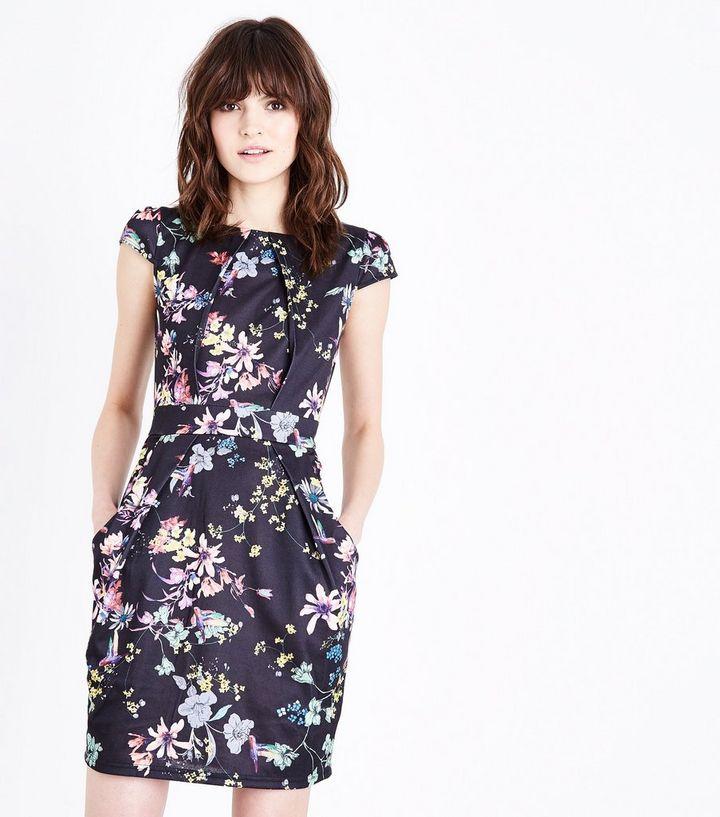 746f190a030d Blue Vanilla Black Floral Cap Sleeve Tulip Dress   New Look