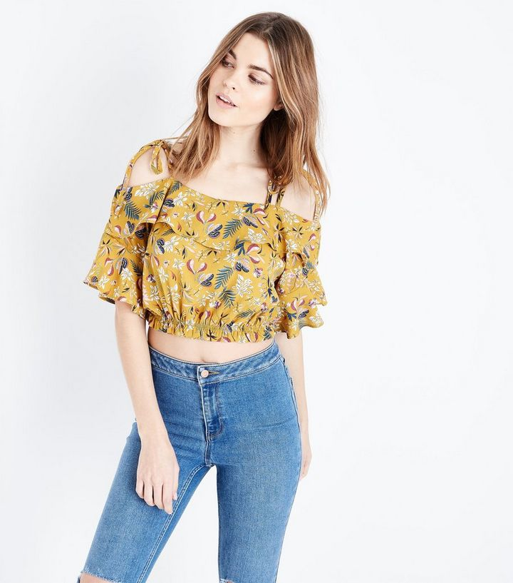 c6ee2b333b Pink Vanilla Yellow Floral Frill Crop Top