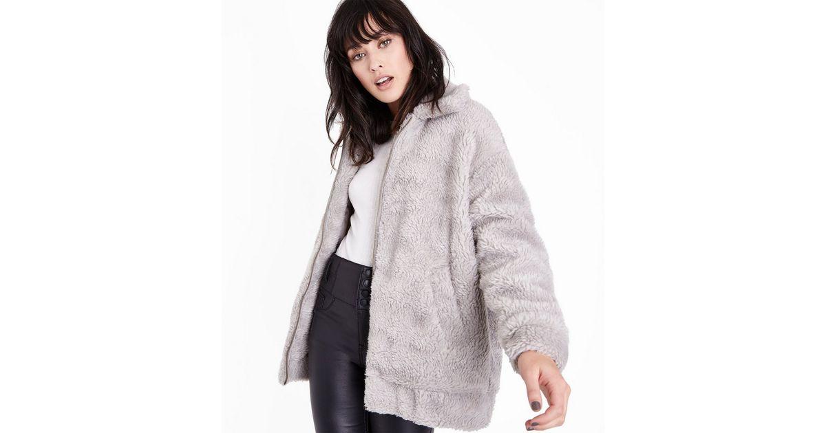 Cameo Rose Grey Faux Fur Teddy Jacket   New Look