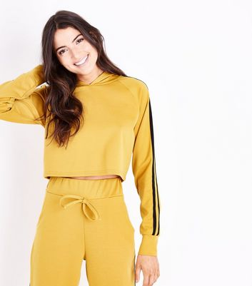 Cameo Rose Yellow Double Stripe Sleeve Hoodie New Look