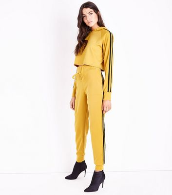 Cameo Rose Yellow Double Stripe Side Joggers New Look