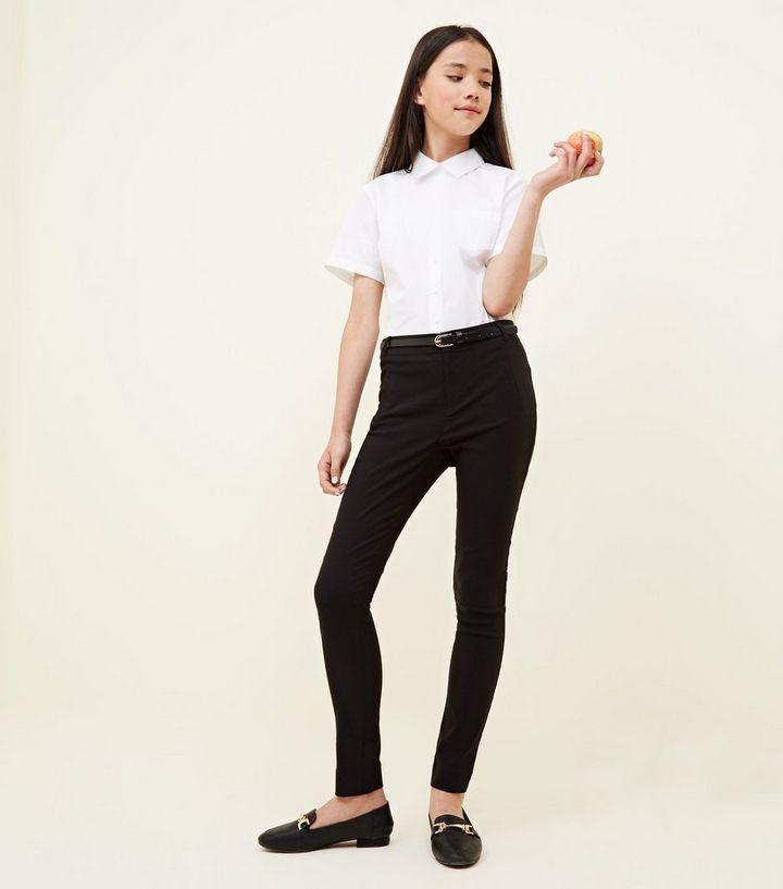 6ac7230a02 Girls Black Belted Slim Leg Trousers