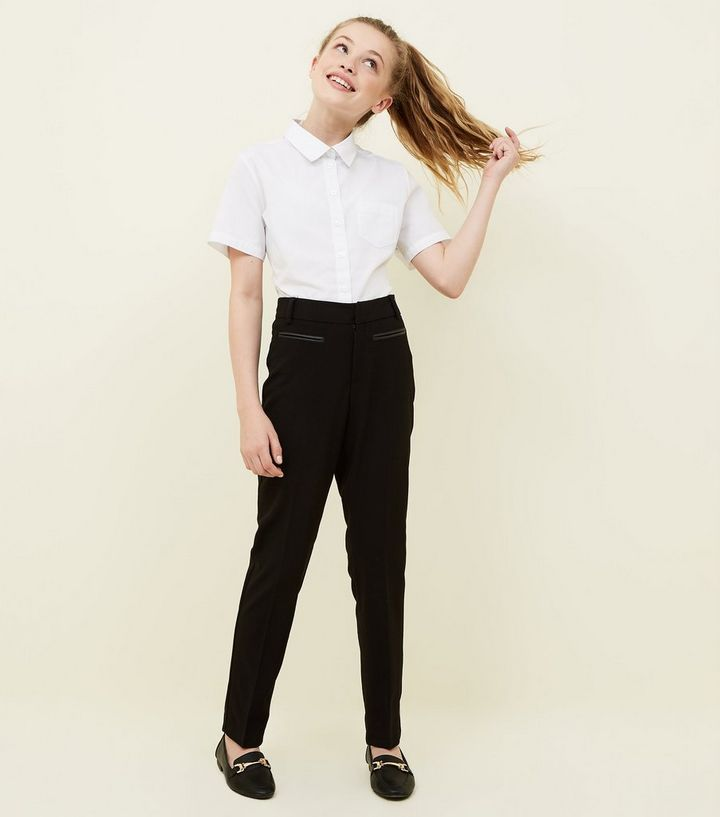 Girls Black Leather Look Trim School Trousers New Look
