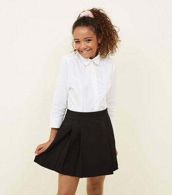 Girls Black Pleated School Skirt by New Look