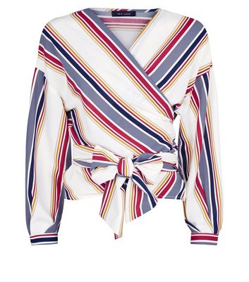 White Contrast Stripe Wrap Front Tie Shirt New Look