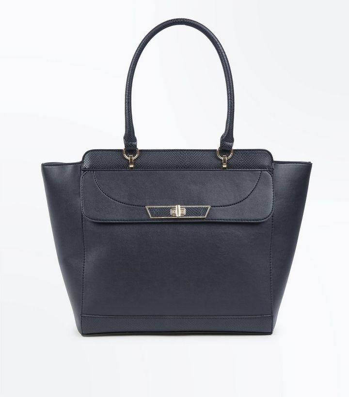 Black Twist Lock Tote Bag New Look