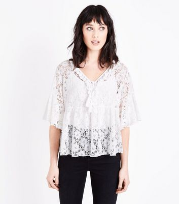 White Lace Tassel Neck Top