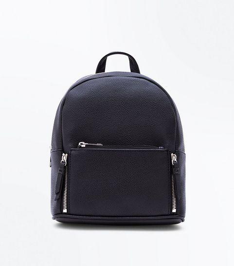 Black Zip Top Curved Mini Backpack