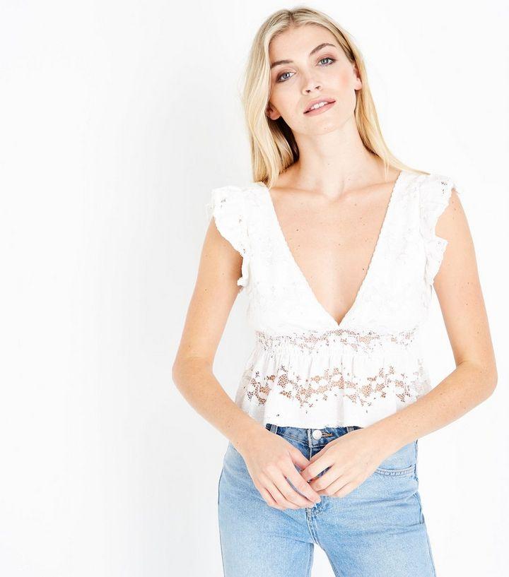 2504d16a340fe3 White Lace Frill Sleeve Peplum Hem Top | New Look
