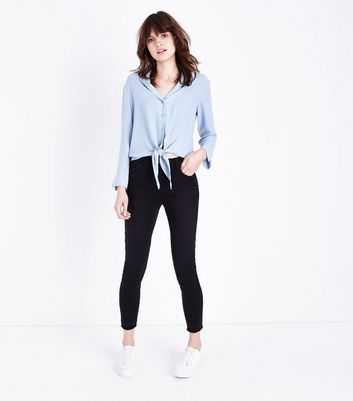 Pale Blue Tie Front Pyjama-Style Shirt New Look