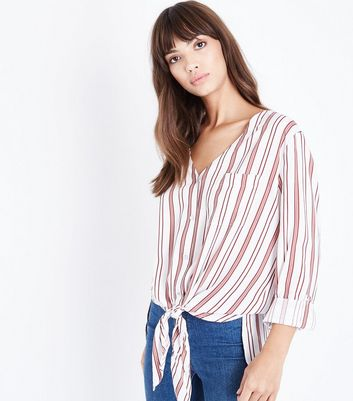 White Stripe V Neck Tie Front Shirt