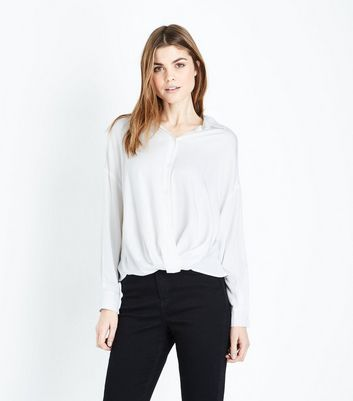 Blue Vanilla Off White Twist Front Shirt