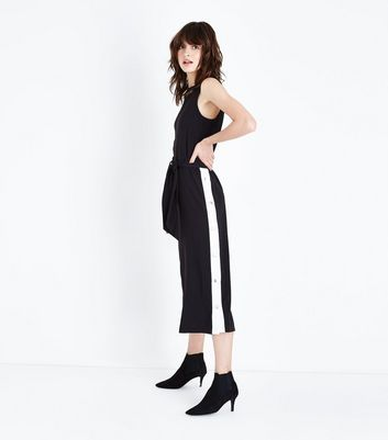 Cameo Rose Black Popper Side Culotte Jumpsuit New Look