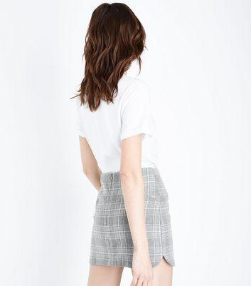 Cameo Rose Pale Grey Check Curve Hem Mini Skirt New Look