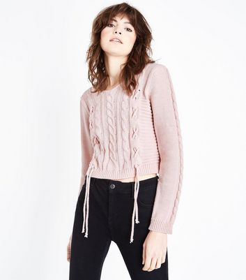 Cameo Rose Pink Lace Up Cable Knit Jumper New Look