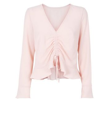 Cameo Rose Pale Pink Ruched Front Blouse New Look