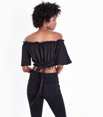 Black Back Bardot Neck Crop Top New Look