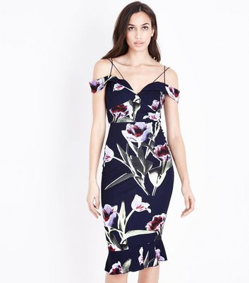 AX Paris Navy Floral Cross Shoulder Strap Dress
