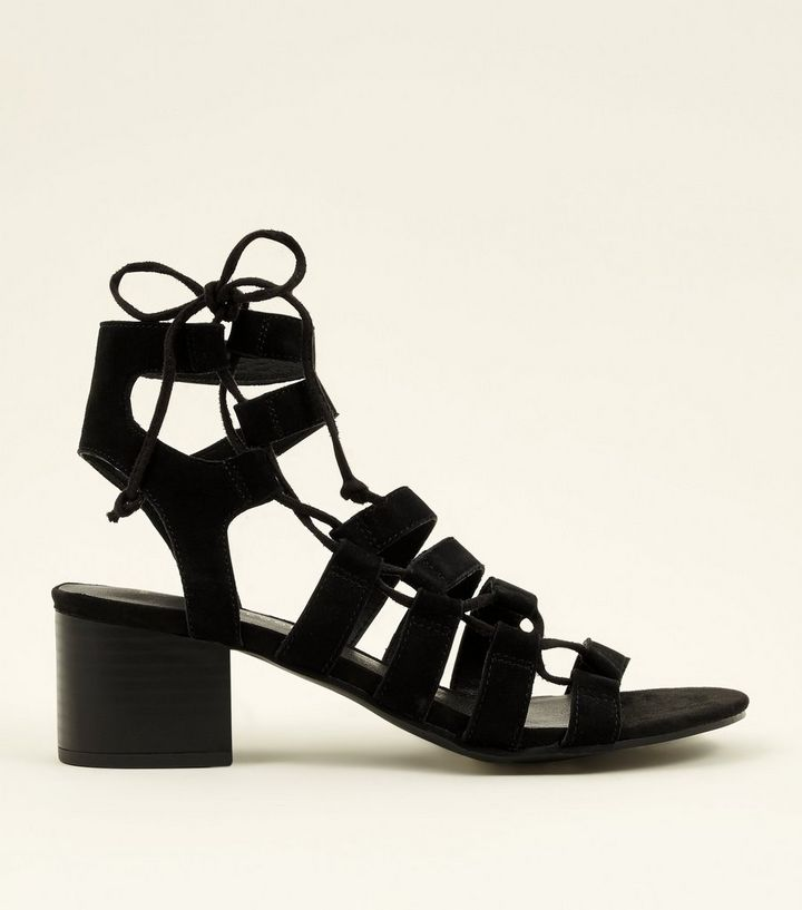 78b9c640c2 Black Suede Ghillie Lace Up Heeled Sandals | New Look
