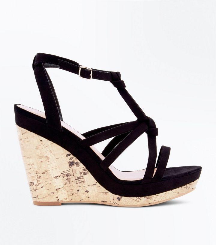 b2276893c07cd Black Suedette Knot Strap Cork Wedges   New Look
