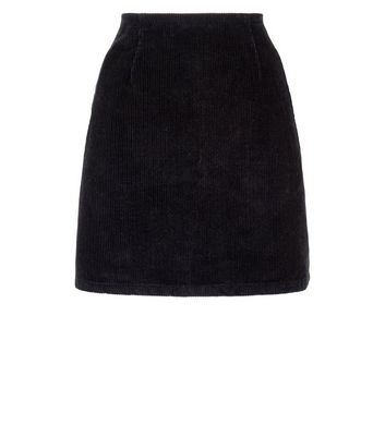 Black Corduroy A-Line Mini Skirt New Look