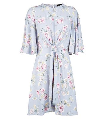 Light Grey Floral Print Tie Front Dress New Look