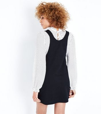 Black Cross Hatch Pinafore Dress New Look