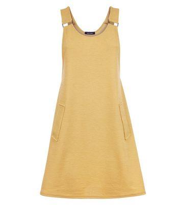 Mustard Cross Hatch Pinafore Dress New Look