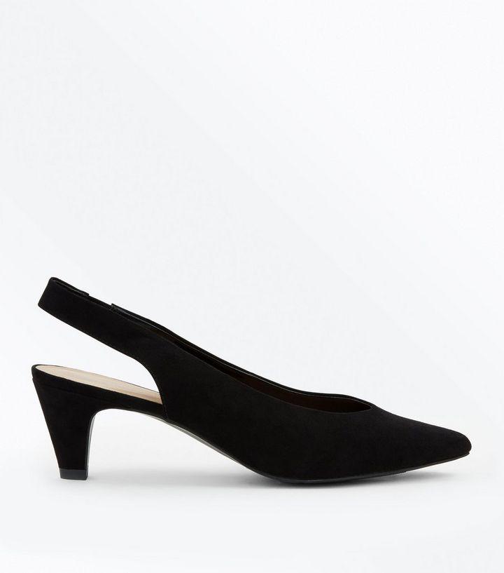 0b7c5ac5a21b Black Suedette Slingback Kitten Heels