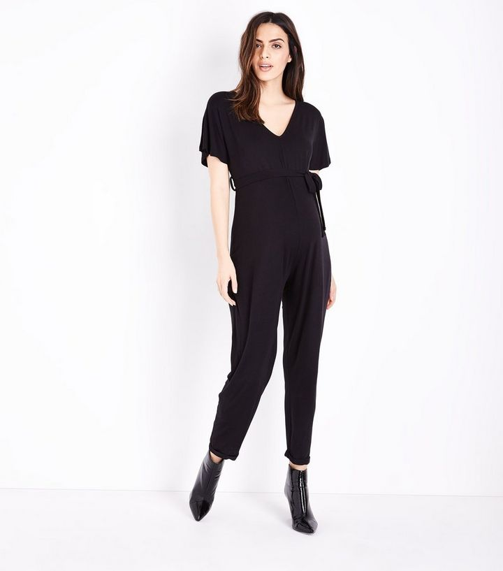 e7dcae9cda44 Maternity Black Belted Jersey Jumpsuit