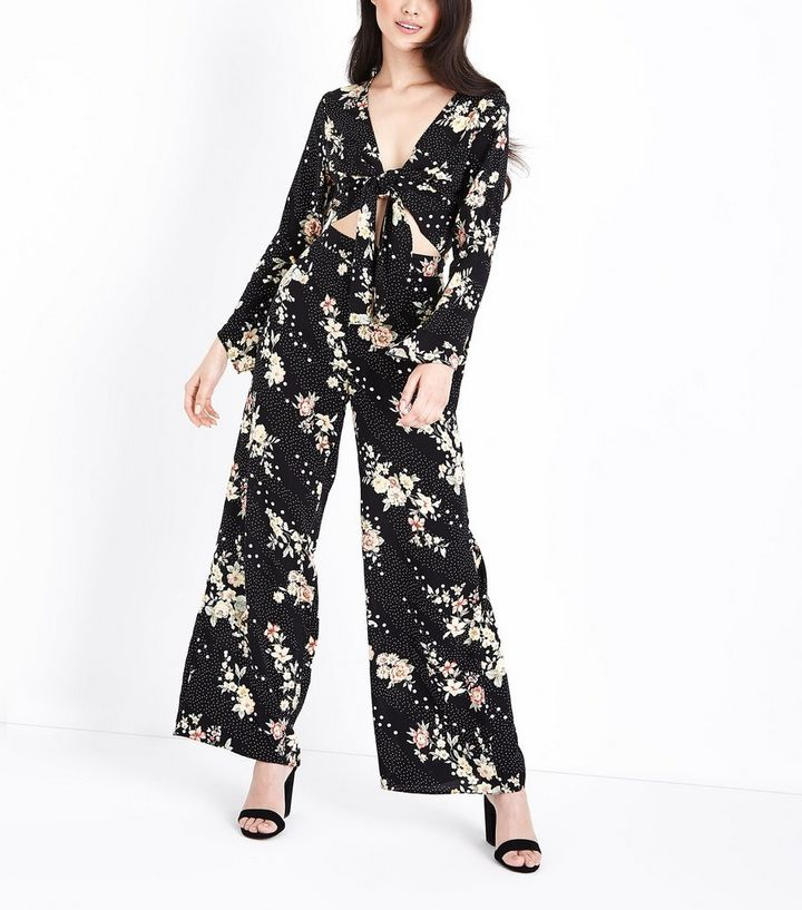 ec12d4a04cf5 Petite Black Floral Spot Print Wide Leg Trousers | New Look