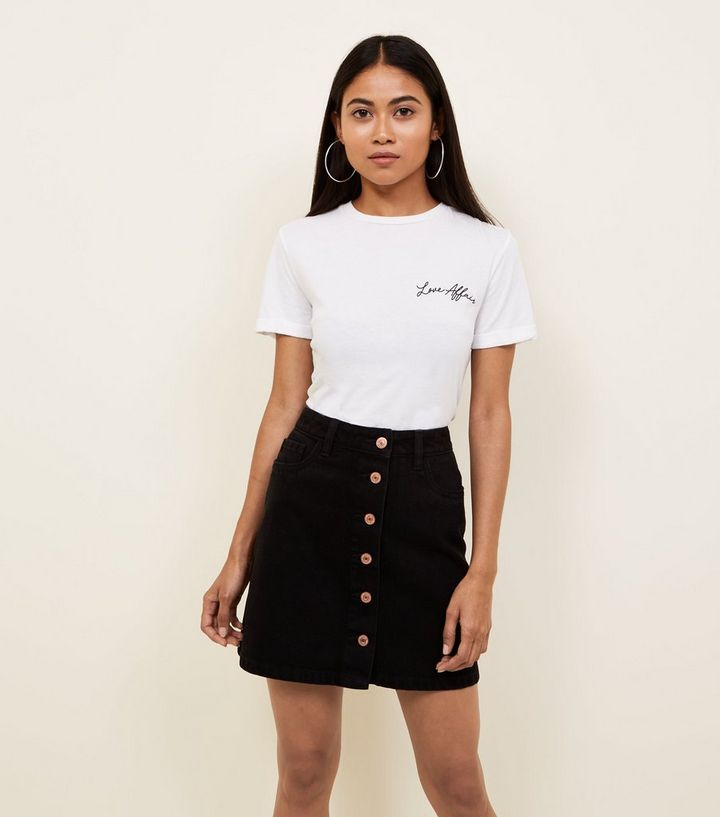 e6046ffdca8e Petite Black Denim Button Front Mini Skirt | New Look