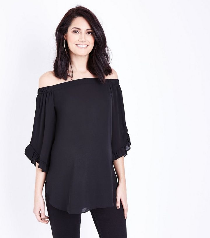 3080a786bdd60 Maternity Black Frill Sleeve Bardot Top