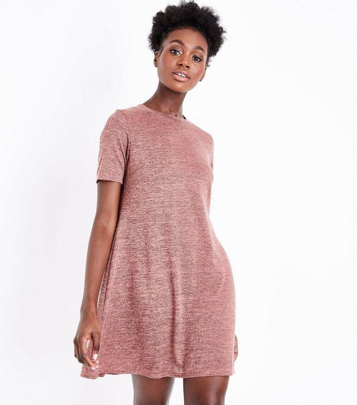 fadf9a35db Rust Fine Knit Swing Dress