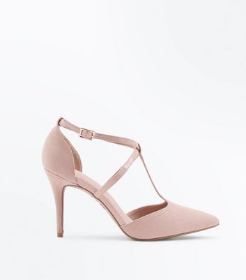 Nude Comfort Flex Suedette and Patent T-Bar Heels