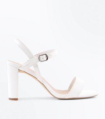 Wide Fit White Block Heel Sandals   New