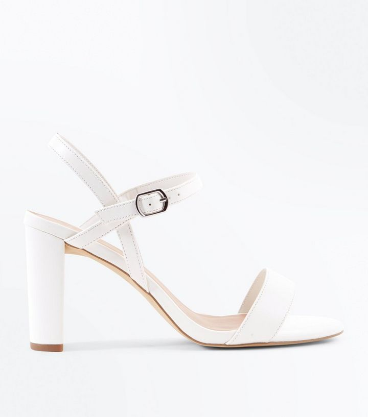 db036d53a5d Wide Fit White Block Heel Sandals