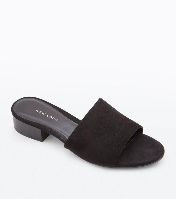 24fcb09144470 Black Suedette Low Wood Heel Mules   New Look