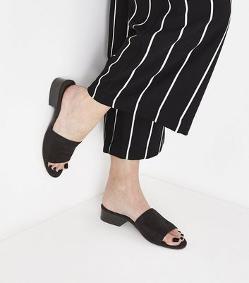 Black Suedette Low Wood Heel Mules New Look