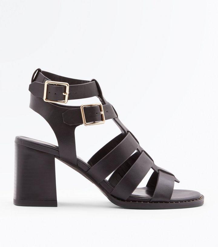 c6df95411 Black Stud Trim Block Heel Gladiator Sandals