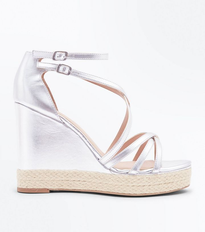 f7864caeed9 Silver Strappy Platform Espadrille Wedges